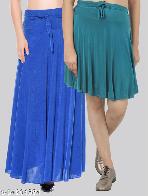 Dashy Club Combo of 2 Pcs  Blue Long & D-Green Small Solid Crepe Flared Skirts