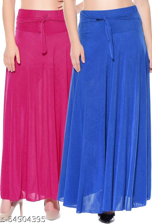 Combo of 2 Pcs Pink Blue Solid Crepe Full Length Flared Skirts