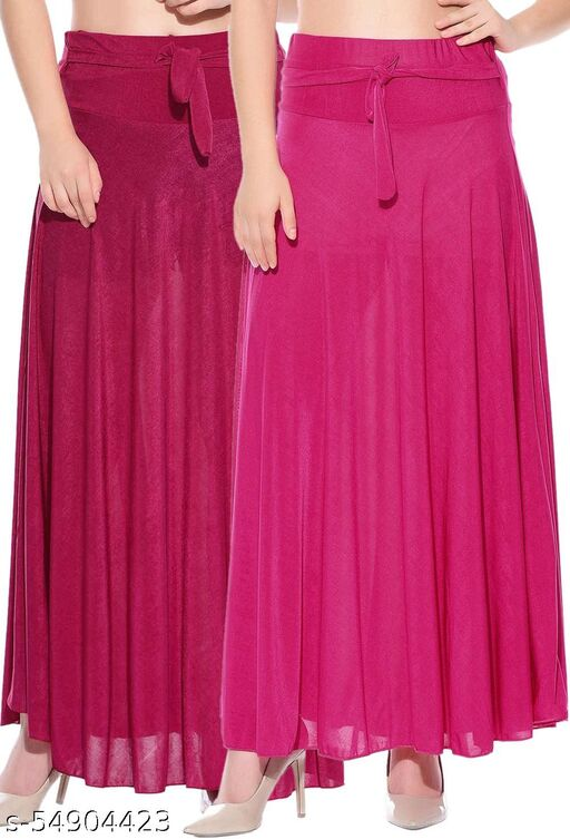 Combo of 2 Pcs Pink Pink Solid Crepe Full Length Flared Skirts