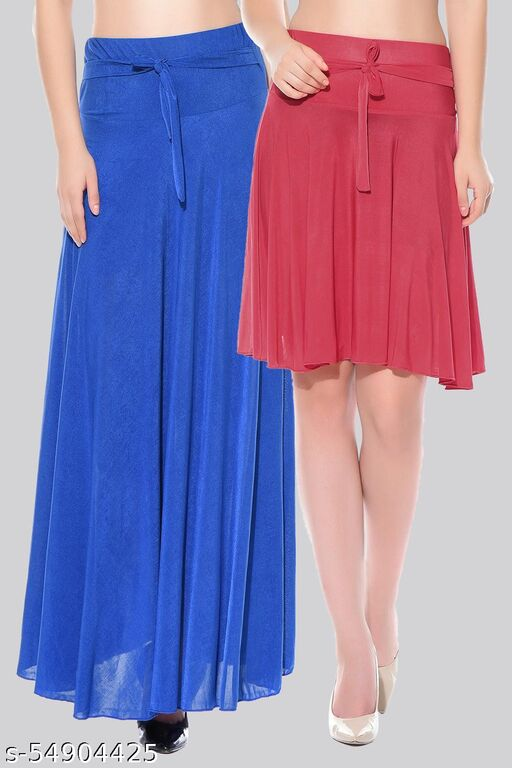 Dashy Club Combo of 2 Pcs  Blue Long & Red Small Solid Crepe Flared Skirts
