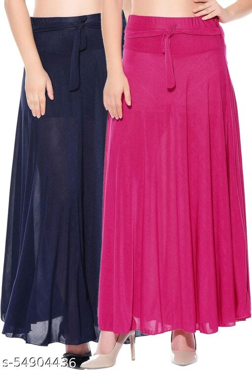 Dashy Club Combo of 2 Pcs Blue Pink Solid Crepe Full Length Flared Skirts