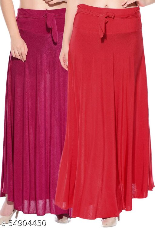 Combo of 2 Pcs Pink Red Solid Crepe Full Length Flared Skirts