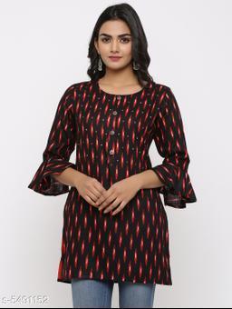 Women's Printed Black Rayon Top