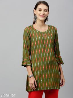 Women's Printed Green Rayon Top