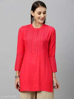 Women's Embroidered Pink Rayon Top