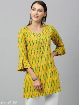 Women's Printed Yellow Rayon Top