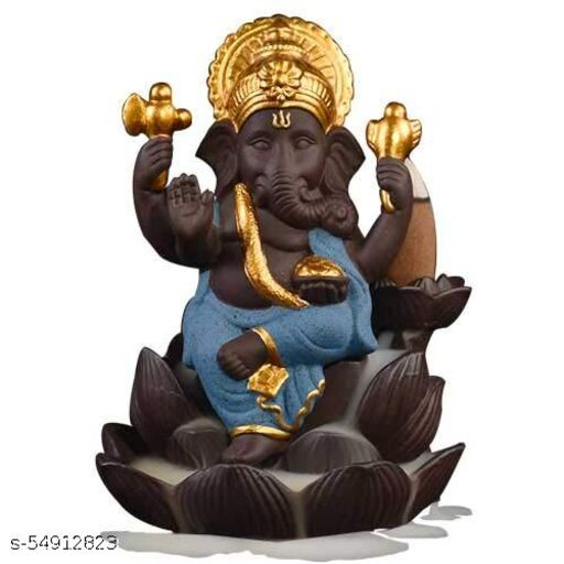 Sretans Hub Ganesha Smoke Backflow Cone Incense Holder, Decorative Showpiece with 10 Free Smoke Backflow Scented Cone Incenses for Gift