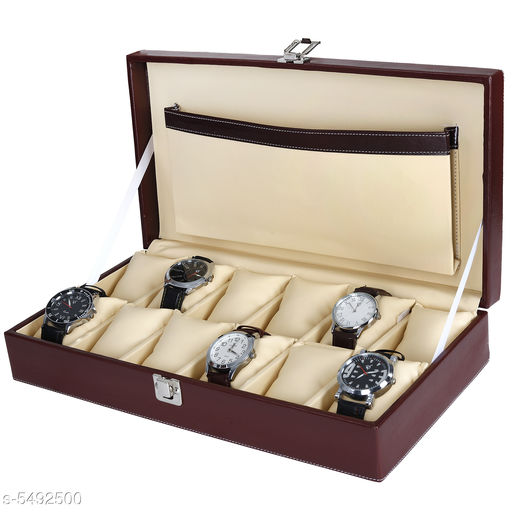 Hard Craft Watch Box Case PU Leather for 10 Watch Slots - Maroon