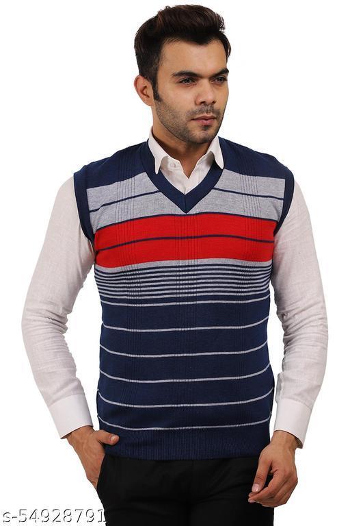 Star Collection Men's Striped V Neck Half Sweater