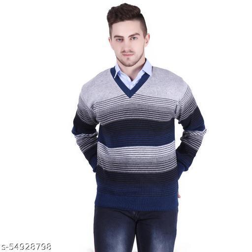 Star Collection Men's Striped V Neck Full Sleeve Sweater