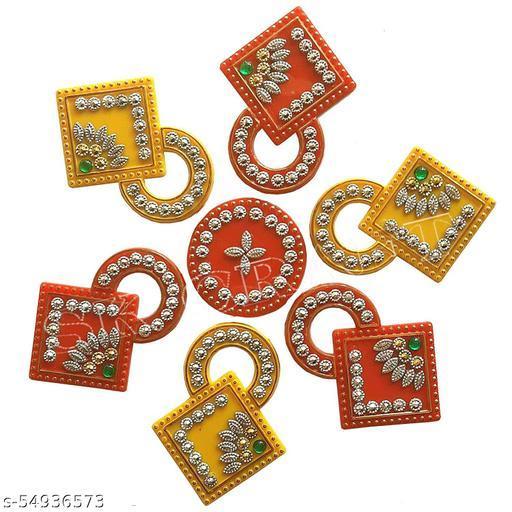 Decorative Diwali/Navratri  Rangoli Stickers Multicolour Jewel Stone/Kundan Decorations on Acrylic Base, 7 Pieces