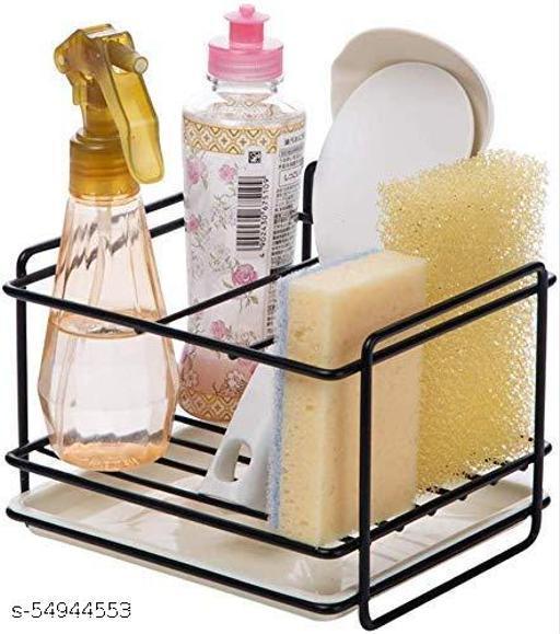 HOMEPRO Kitchen Sponge Holder Sink Organiser Soap Brush Sponge Drain Rack Dishwasher Liqgend Shower Gel Storage for Kitchen and Bathroom