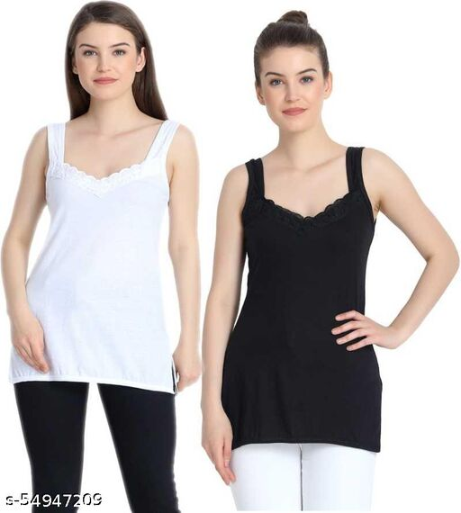 Women Stylish Camisoles Black and White (pack of 2)