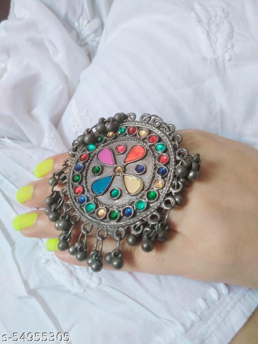 Afghani Black Polished Adjustable Ring