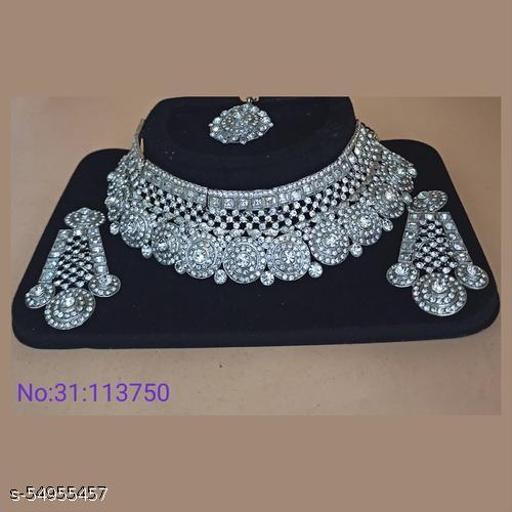Padmawati Bangles Silver Plated Austrian Stone Choker Necklace Set - White