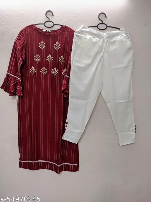 Rayon cotton kurti with pant