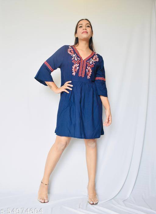 Royal Blue Knee-Length Frock Dress