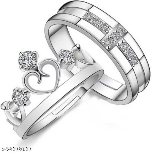 King & Queen Adjustable Couple Ring Set For Women and Men