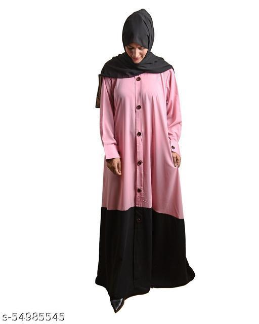 AMRAZ Lylah Abaya 2 shaded Classy Abaya Arabian Premium Poly Chifffon Polyester Solid Abaya Without Hijab