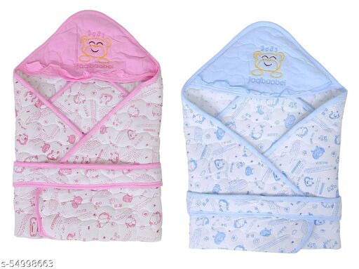 baby wrapping sheet with hoody cut out for comfort and soft feel combo set - pink, blue