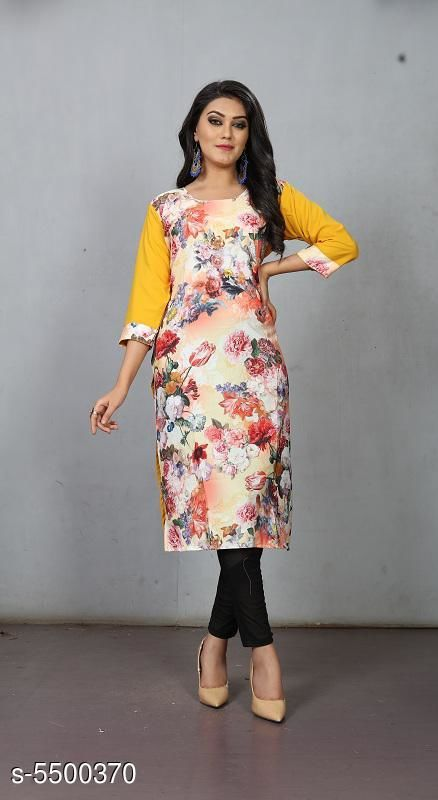 Kaftans Pretty Fashionable Women Kurtis  *Fabric* Crepe  *Sleeve Length* Three-Quarter Sleeves  *Pattern* Printed  *Multipack* 1  *Sizes*   *S (Bust Size* 36 in, Length Size  *XL (Bust Size* 42 in, Length Size  *L (Bust Size* 40 in, Length Size  *M (Bust Size* 38 in, Length Size  *XXL (Bust Size* 44 in, Length Size  *Sizes Available* S, M, L, XL, XXL   Supplier Rating: ★3.3 (105) SKU: RC-127 Shipping charges: Rs49 (Non-refundable) Pkt. Weight Range: 300  Catalog Name: Pretty Fashionable Women Kurtis - Shree Ganesh Creation Code: 992-5500370--