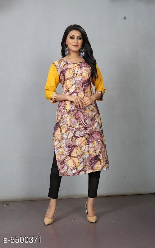 Kaftans Pretty Fashionable Women Kurtis  *Fabric* Crepe  *Sleeve Length* Three-Quarter Sleeves  *Pattern* Printed  *Multipack* 1  *Sizes*   *S (Bust Size* 36 in, Length Size  *XL (Bust Size* 42 in, Length Size  *L (Bust Size* 40 in, Length Size  *M (Bust Size* 38 in, Length Size  *XXL (Bust Size* 44 in, Length Size  *Sizes Available* S, M, L, XL, XXL   Supplier Rating: ★3.3 (105) SKU: RC-128 Shipping charges: Rs49 (Non-refundable) Pkt. Weight Range: 300  Catalog Name: Pretty Fashionable Women Kurtis - Shree Ganesh Creation Code: 992-5500371--