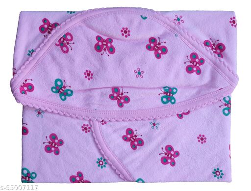 KILKARIYAA Presents Baby Hooded Towel & Color Printed Wrapper/Blanket Baby Towel, Super Soft Cotton Towel, (PINK, Size- 72cm X 72cm)