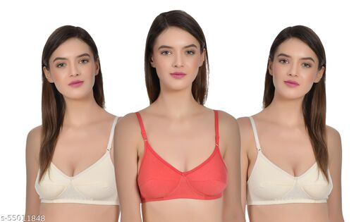 AIMLY Women's Cotton Non-Padded Non-Wired Moderate Coverage Double Cup Layered Regular Bra - (Pack of 3)