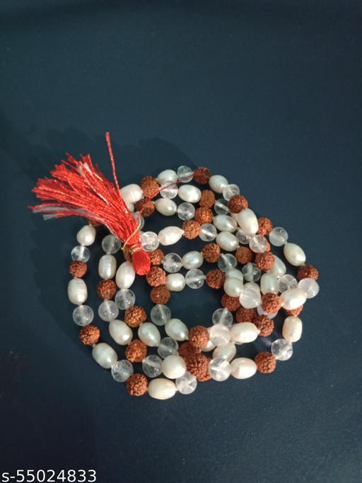 Original Rudraksha Sphatik and Moti Pearl Mala 108 Beads 6mm