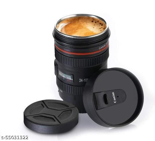 Camera Lens Mugs for Coffee, Steel Insulated Camera Lens Coffee Travel Mug, Camera Lens Shaped Coffee Mug with Lid for Gifting idea, Camera Lens Plastic Coffee Mug with Lid (350ml, Black)