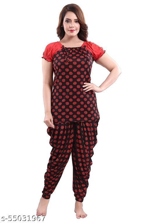 TUCUTE Women's Sarina Fabric Top & Dhoti Style Bottom 2 PC Nightsuit Set (Red_5104)