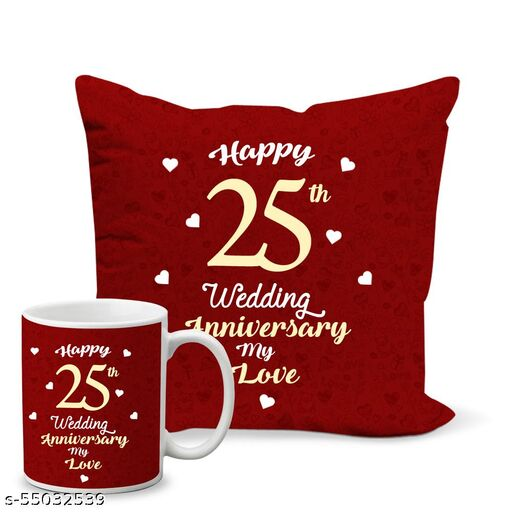 Happy 25th Anniversary Printed Coffee Mug and Cushion Cover 12x12 inch Combo Gifts for Anniversary -MGZ-025