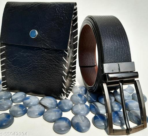 Men Formal Black and Brown pure Leather Reversible Belt.