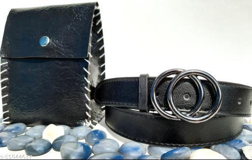 STYLISH DOUBLE RING BUCKLE BELT FOR WOMEN. BLACK  BUCKLE