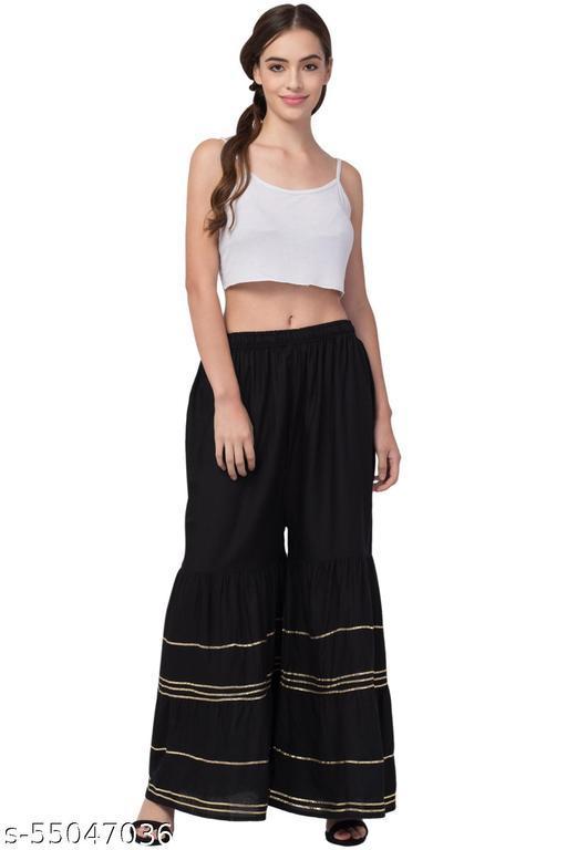 Lalymart Rayon Gharara Sharara For Women & Girl (Free Size, 26 - 42 Inch, Black)