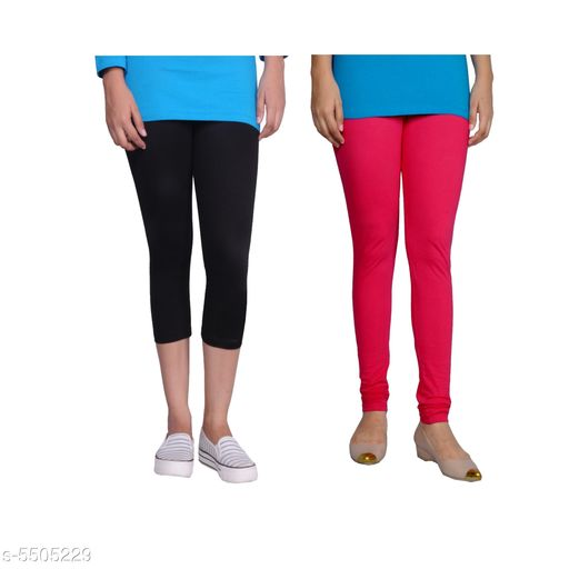 Western Bottomwear - Leggings Trendy Women's Legging  *Fabric* Cotton Lycra  *Pattern* Solid  *Sizes*   *M-30 (Legging Waist Size* 30 in, Legging Length Size  *L-32 (Legging Waist Size* 32 in,Legging Length Size  *XL-34 (Legging Waist Size* 34 in,Legging Length Size  *XXL-36 (Legging Waist Size* 36  in,Legging Length Size  *Description* It Has 1 Piece Of Capri & 1 Piece Of Legging  *Sizes Available* 30, 32, 34, 36   Supplier Rating: ★4.1 (442) SKU: Tu_LC_blk_Pink Free shipping is available for this item. Pkt. Weight Range: 300  Catalog Name: Fashionable Latest Women Leggings - TANUNI INNER WEAR Code: 594-5505229--