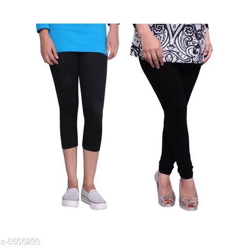 Western Bottomwear - Leggings Trendy Women's Legging  *Fabric* Cotton Lycra  *Pattern* Solid  *Sizes*   *M-30 (Legging Waist Size* 30 in, Legging Length Size  *L-32 (Legging Waist Size* 32 in,Legging Length Size  *XL-34 (Legging Waist Size* 34 in,Legging Length Size  *XXL-36 (Legging Waist Size* 36  in,Legging Length Size  *Description* It Has 1 Piece Of Capri & 1 Piece Of Legging  *Sizes Available* 30, 32, 34, 36   Supplier Rating: ★4.1 (442) SKU: Tu_LC_blk_blk Free shipping is available for this item. Pkt. Weight Range: 300  Catalog Name: Fashionable Latest Women Leggings - TANUNI INNER WEAR Code: 594-5505230--
