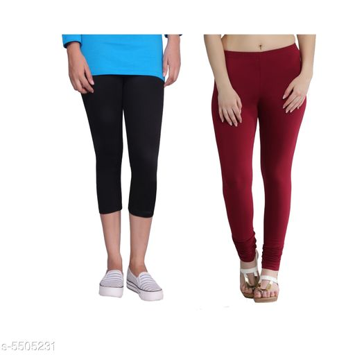 Western Bottomwear - Leggings Trendy Women's Legging  *Fabric* Cotton Lycra  *Pattern* Solid  *Sizes*   *M-30 (Legging Waist Size* 30 in, Legging Length Size  *L-32 (Legging Waist Size* 32 in,Legging Length Size  *XL-34 (Legging Waist Size* 34 in,Legging Length Size  *XXL-36 (Legging Waist Size* 36  in,Legging Length Size  *Description* It Has 1 Piece Of Capri & 1 Piece Of Legging  *Sizes Available* 30, 32, 34, 36   Supplier Rating: ★4.1 (442) SKU: Tu_LC_blk_maroon Free shipping is available for this item. Pkt. Weight Range: 300  Catalog Name: Fashionable Latest Women Leggings - TANUNI INNER WEAR Code: 594-5505231--