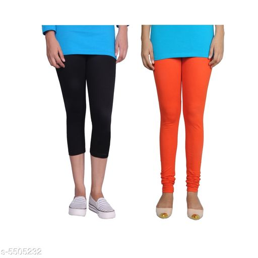 Western Bottomwear - Leggings Trendy Women's Legging  *Fabric* Cotton Lycra  *Pattern* Solid  *Sizes*   *M-30 (Legging Waist Size* 30 in, Legging Length Size  *L-32 (Legging Waist Size* 32 in,Legging Length Size  *XL-34 (Legging Waist Size* 34 in,Legging Length Size  *XXL-36 (Legging Waist Size* 36  in,Legging Length Size  *Description* It Has 1 Piece Of Capri & 1 Piece Of Legging  *Sizes Available* 30, 32, 34, 36   Supplier Rating: ★4.1 (442) SKU: Tu_LC_blk_orng Free shipping is available for this item. Pkt. Weight Range: 300  Catalog Name: Fashionable Latest Women Leggings - TANUNI INNER WEAR Code: 594-5505232--