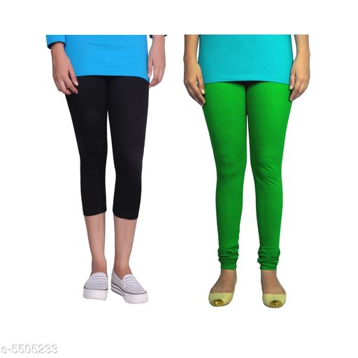 Western Bottomwear - Leggings Trendy Women's Legging  *Fabric* Cotton Lycra  *Pattern* Solid  *Sizes*   *M-30 (Legging Waist Size* 30 in, Legging Length Size  *L-32 (Legging Waist Size* 32 in,Legging Length Size  *XL-34 (Legging Waist Size* 34 in,Legging Length Size  *XXL-36 (Legging Waist Size* 36  in,Legging Length Size  *Description* It Has 1 Piece Of Capri & 1 Piece Of Legging  *Sizes Available* 30, 32, 34, 36   Supplier Rating: ★4.1 (442) SKU: Tu_LC_blk_gren_XXL Free shipping is available for this item. Pkt. Weight Range: 300  Catalog Name: Fashionable Latest Women Leggings - TANUNI INNER WEAR Code: 594-5505233--