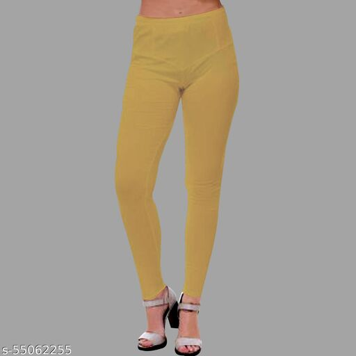 Cursive Ruby Cut Women's Slim Fit Ankle Length Leggings/Bottom Wear/Dori Inside (Size Free)-COMFORTABLE FIT FOR Waist Relax = 26 / Waist Stretch = 40 / LENGTH-35 INCHES/Ankle Length/Ruby Cut/Slim Fit/Mid Rise/Elasticated waist band With Nada/Dori/Hand Wash/Material: 90% Cotton & 10% Lycra-Beige