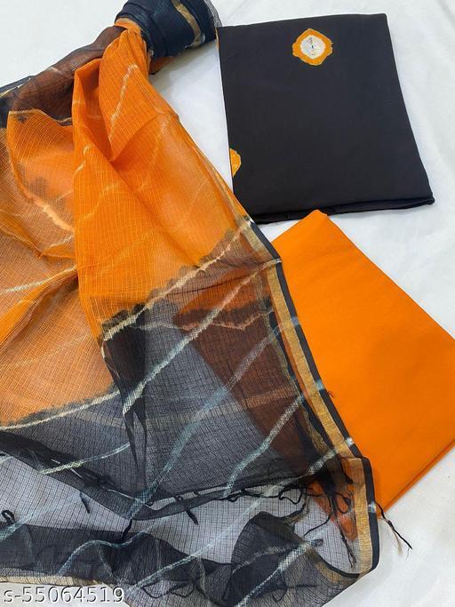 Handblock Printed Cotton Suit With Kota Doriya Dupatta