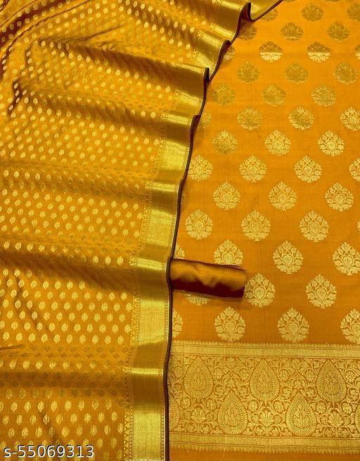 (R20Mustard) Fashionable Banarsi Jaquard Silk Suit And Dress Material