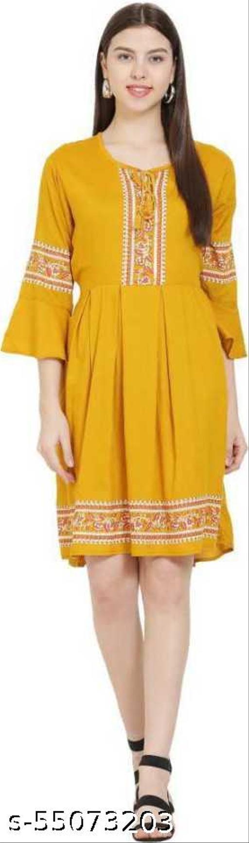 Alexa India Women / Girls Fit & Flare A Line Yellow Dress