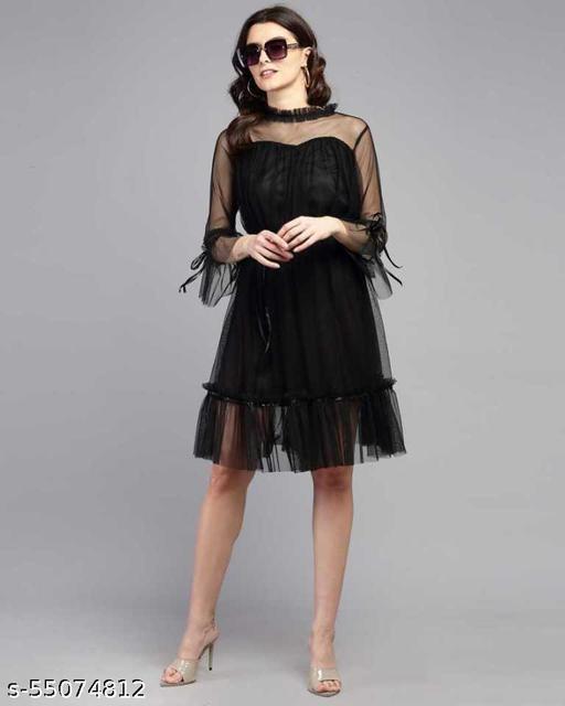 Alexa India Women / Girls Net Fit & Flare Black Dress