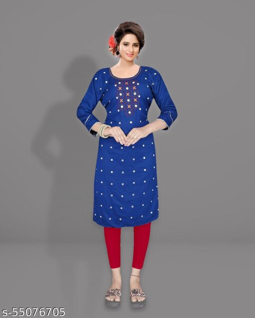 TWILL COTTON EMBRODERY MIRROR WORK BLUE KURTI ONLY