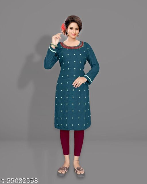 TWILL COTTON EMBROIRED MIRROR WORK GREEN TEAL  KURTI ONLY
