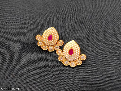 Pearl studded earrings for women and girls gold color with royal pink stone