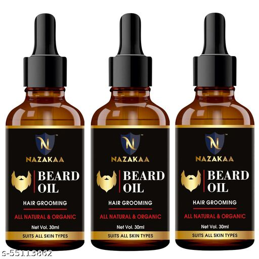 Beard Growth Oil For Patchy Beard, Growth, Shine, And Hair Growth For Men-30ml-Packof-3-Bottle-(90ml)