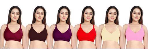 Shreeji Collection- Seamed Non Padded Full Coverage Cotton Bra Multicolor (Set of 6)